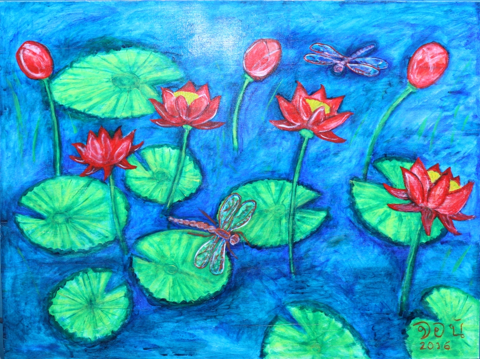 dragonfly lotuses